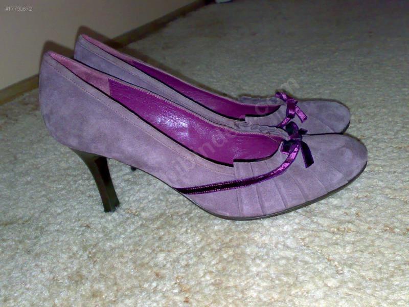vakko markalı ince sivri topuklu lila mor menekşe eflatun rengi abiye ayakkabı